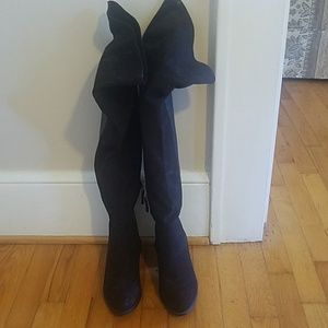 Thigh High Faux Suede and Faux Leather Boots